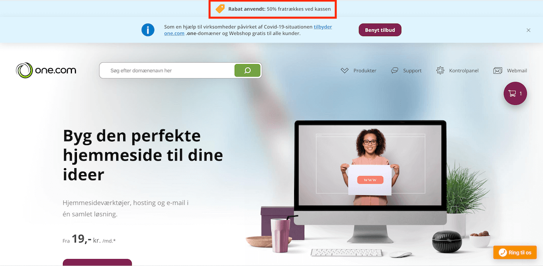 Så er rabatkoden aktiveret på one.com